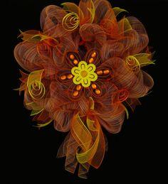 Summer Wreath Orange Yellow Pink Poly Mesh Door by wreathsbyrobin, $63.00