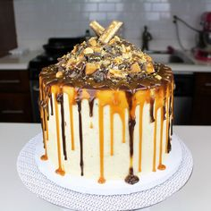 Chocolate Caramel Snickers Cake