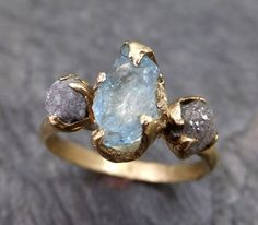 Raw Uncut Aquamarine Diamond Gold Engagement Ring Wedding Ring Custom One Of a Kind Gemstone Ring Bespoke Three stone Ring