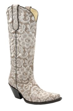6d8ab559dd65 Kd Corral Ladies Embroidery Bone Cowhide Leather Cowgirl Boots