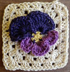 Annoo's Crochet World: Spring Pansy Flower Granny Free Pattern