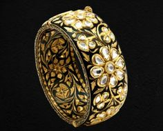 Black Enamel Bangle - Sunita Shekhawat with Uncut Diamonds