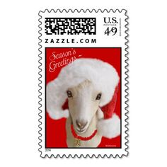 Season's Greetings  goat postage features a pretty  LaMancha Goat with Santa hat on #GetYerGoat
