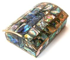 ANTIQUE ABALONE JEWELRY BOX ALPACA SILVER LARGE MOP TRINKET JEWEL