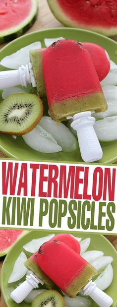 These super delicious and healthy Watermelon Kiwi Popsicles are made with only 3 ingredients! Kids will love these fun & cute treats!