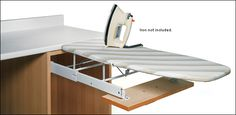 With this kit, you can install a space-saving ironing board that simply folds away into a drawer when you're finished using it. I would have this in a master closet any day. Obvious for the laundry but I actually prefer to iron just before wearing. Small Laundry Rooms, Laundry In Bathroom, Laundry Closet, Drying Rack Laundry, Drying Racks, Iron Board, Built In Cabinets, Cabinet Makers, Room Organization