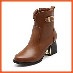 Women's Round Closed Toe Low-Top Kitten-Heels Solid PU Boots with Metal