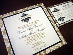 Flat Card with Backing. Wedding Invitation Inspiration
