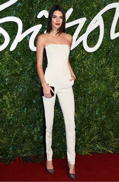 Kendall Jenner rocks a black and white tuxedo-style jumpsuit