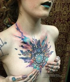 It's been a year since we did Kelsey's destroyed mandala chest piece, and today it evolved along with her. It expanded outward, we balanced some areas, and lunged into a new space altogether. We added a bit of warmth to some areas that have healed;...