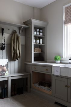 Boot Room - Georgian Country Kitchen - Luxury Bespoke Kitchen on Home Inteior Ideas 4434 Boot Room Utility, Utility Room Storage, Boot Room Storage, Small Storage, Mudroom Laundry Room, Laundry Room Design, Built In Dog Bed, Utility Room Designs, Utility Room Ideas