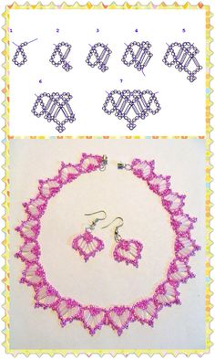 Free pattern for beaded necklace Sami mm cseh csiszolt Beaded Necklace Patterns, Seed Bead Patterns, Beading Patterns, Macrame Necklace, Beaded Earrings, Beaded Crafts, Beaded Ornaments, Jewelry Crafts, Seed Bead Jewelry