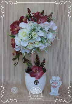 """Купить Топиарий """"Орхидея Ванда"""", дерево счастья - бордовый, топиарий, топиарий дерево счастья"""