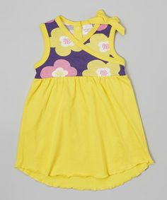 Yellow Floral Organic Surplice Dress - Infant & Toddler