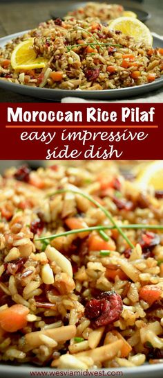 Moroccan Rice Pilaf: Fragrant, Fluffy and Delicious: Super easy to make and impressive enough your guests will love it as a side dish for any holiday party! Moroccan Rice Pilaf: Fragrant, Fluffy and Delicious: Super easy to make and impressi Rice Side Dishes, Best Side Dishes, Vegetable Side Dishes, Side Dish Recipes, Vegetable Recipes, Food Dishes, Vegetarian Recipes, Cooking Recipes, Rice Recipes