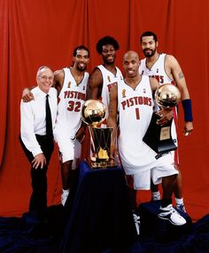 Head Coach Larry Brown, Richard Hamilton, Ben Wallace, Chauncey Billups and Rasheed Wallace of the Detroit Pistons pose with the championship trophy after Game Five of the 2004 NBA Finals on June Get premium, high resolution news photos at Getty Images 2004 Nba Finals, Nba Finals Game, Ben Wallace, Nba Stephen Curry, Kobe Bryant Pictures, Nba Houston Rockets, Detroit Sports, Indiana Pacers, Larry Bird