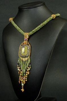 Beadwoven and Embroidered Necklace Grapeleaves and by NEDbeads, $250.00