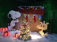 S-One Holiday Snoopy made of cans.