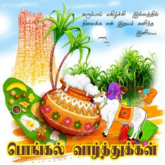 Pongal greetings in tamil Tamil Greetings, Simple Rangoli, Greeting Cards, Christmas Ornaments, Holiday Decor, Home Decor, Festivals, Happy, Decoration Home