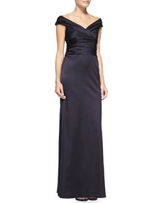Off-the-Shoulder Ruched Column Gown, Navy - Kay Unger New York