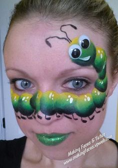 Silly caterpillar face painting tutorial by Cameron Garrett