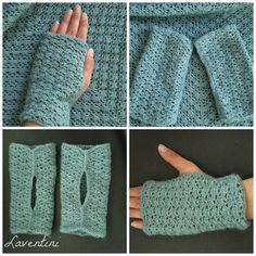 Fingerless gloves made by Laventini. Free pattern by Christie Pruitt here http://www.ravelry.com/patterns/library/lacy-fingerless-gloves