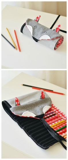 Funny pencil case for school children, gift for school enrollment / funny pencil ca . - Funny pencil case for school children, gift for school enrollment / funny pencil case for the first - Roll Up Pencil Case, School Pencil Case, Diy Pencil Case, Pencil Cases, Sewing Kids Clothes, Sewing For Kids, Diy For Kids, Sewing Machine Projects, Sewing Projects For Beginners