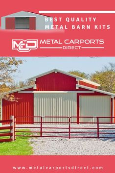 Metal Carports Direct provides the best quality metal barn kits at the lowest metal barn prices. Choose us to get your favorite metal barn kits Metal Barn Kits, Prefab Metal Buildings, Rv Shelter, Metal Building Kits, Metal Carports, Steel Barns, Garages, Shed, Construction
