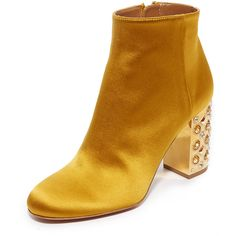 Aquazzura Party 85 Booties (1.860 RON) ❤ liked on Polyvore featuring shoes, boots, ankle booties, ankle boots, yellow, amber yellow, stretch boots, ankle bootie boots, aquazzura boots and yellow booties