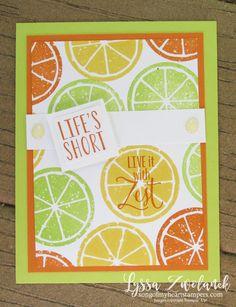 Lemon Zest Builder Punch Bundle Stampin Up Lyssa lime orange slices if life gives lemons Homemade Greeting Cards, Homemade Cards, Stampin Up Catalog 2017, Hand Stamped Cards, Stampin Up Cards, Altenew Cards, Pretty Cards, Paper Cards, Recipe Cards