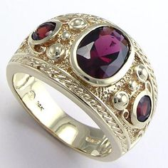 Men's garnet ring 14k gold