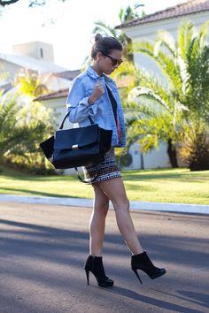 Look do Dia – Saia e Jaqueta Jeans