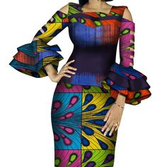 Customize African Print Ruffles Sleeve Tops and Skirt Sets for Women Bazin Riche African Clothing 2 Pieces Skirts Sets - AliExpress Couples African Outfits, African Attire, Short African Dresses, African Fashion Dresses, 2 Piece Skirt Set, Style Africain, African Traditional Dresses, African Print Fashion, Ruffles