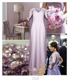 """Lavender Gown"" by talvadh ❤ liked on Polyvore featuring Elie Saab, Safiyaa and René Caovilla"