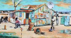 Township in Khayelitsha South Africa Art, Africa Map, African Wall Art, Landscape Paintings, Art Paintings, Landscapes, African Paintings, Puzzle Art, South African Artists
