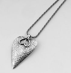 Sterling Silver Designed Heart Shape With Upside Down Heart Holder Necklace