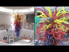 """Chihuly:  Time lapse video of """"Fire and Ice"""" chandelier (2:03)"""
