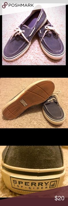 Sperry Top-Sider shoes for men. Size 10.5 Selling Sperry top-sider shoes for men. Blue (almost denim color). Size 10.5. Shoe laces are white. In good shape. Worn roughly 10 times. Bottom of shoes need to be wiped down (see image), but there is no cosmetic damage apart from normal wear. Sperry Top-Sider Shoes Boat Shoes