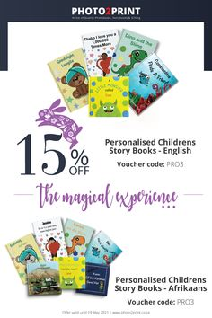 Available in English & Afrikaans *Valid until 30 April 2021. Use voucher code PRO3. #photobooks #storybooks #kidsbooks #persoanlisedstorybooks #childrenbooks #childrensbooks #PhotoBooks #SouthAfrica #Johannesburg_SouthAfrica #Photo2Printza #family #Gauteng #Capetown #Durban #personalised #perfectgift Kids Story Books, Photo Book, Coding, Voucher Code, Afrikaans, Gifts, English, Presents, Story Books For Kids