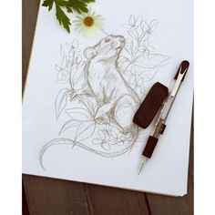 Sketch time  - essi tattoo #rat #flower #sketch #drawing #tattooart…