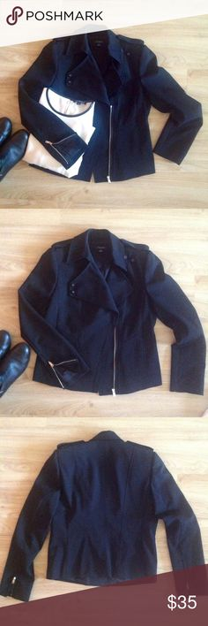 Fabulous Motto Jacket NWOT Black, lined with tons of style!  Epaulettes on the shoulder, hidden pockets,  flattering princess seams, zippers on the sleeves!  Great versatile jacket!  53/44/3. Poly/wool/spandex. Feels more like poly! Ann Taylor Jackets & Coats Blazers