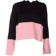 Marni Open-Back Two-Tone Cashmere Sweater ($690) ❤ liked on Polyvore featuring tops, sweaters, nero, crew neck top, long sleeve tops, open back long sleeve top, open back tops and j.crew cashmere sweaters