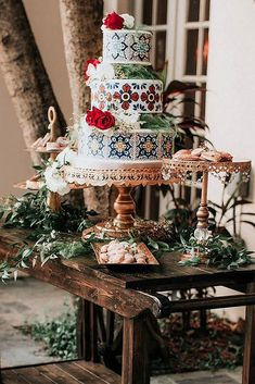 wedding cakes ideas mexican wedding cake ideas cake with mexican patterns on a wooden table honeys cakes via Creative Wedding Cakes, Beautiful Wedding Cakes, Wedding Cake Designs, Colourful Wedding Cake, Wedding Humor, Diy Wedding, Wedding Ideas, Gold Wedding, Peru Wedding