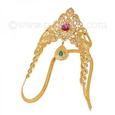 Uncut Diamonds Peacock Vanki   #Bridal #arm #jewelry for #women: #Designer #vanki, also known as #armlet or #bajuband, crafted in #22k yellow #gold, studded with #ruby, #emerald and uncut #diamonds (6.04 carats), in a stunning #peacock design with drop accent. https://www.rajjewels.com/22-k-uncut-diamond-gem-s-vanki-4319.html#sthash.7TG3DyMY.dpuf