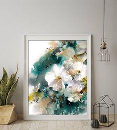 White Flowers Fine Art Print Flowers Watercolor Painting
