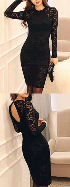 Adore this black bodycon dress.