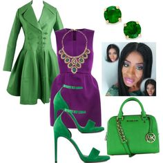 Green & Purple Elegance by two-faced-honey on Polyvore featuring polyvore fashion style Alaïa Yves Saint Laurent MICHAEL Michael Kors Deepa Gurnani Kate Spade