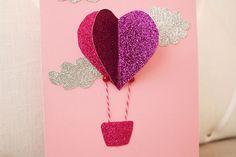 Valentines card - Hjärtkort: En luftballong Valentine Crafts, Valentines Day, Crafts For Kids, Arts And Crafts, Osho, Elsa, Wraps, Presents, Diy