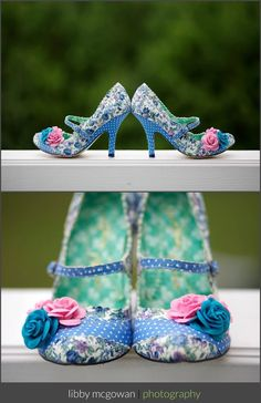 most amazing vintage blue Wedding shoes with flowers and polka dots from irregular choice