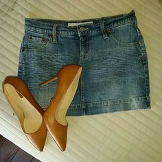 Short Mini Denim Skirt Distressed stretchy denim mini skirt. Used once. Literally looks brand new. Mossimo Supply Co Skirts Mini